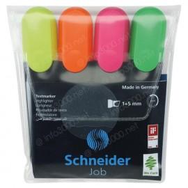 Schneider Job pochette de 4 surligneurs - coloris assortis